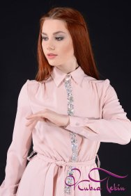Pudra Taşlı Gömlek Elbise