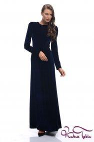 Angelina Lacivert Kadife Elbise