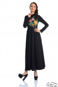 Molly Siyah Nakışlı Elbise