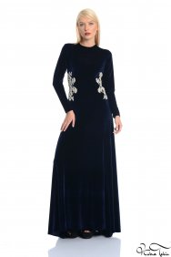 Kuğu Lacivert Kadife Elbise