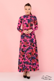 Molly Pembe Patchwork Elbise