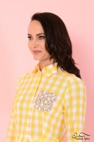 Özge Sarı Cepli Elbise