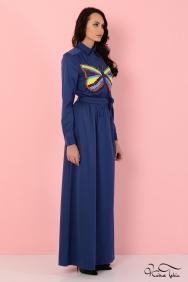 Penelope Kelebek Taş İşlemeli İndigo Elbise