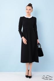 Alina Siyah Midi Elbise