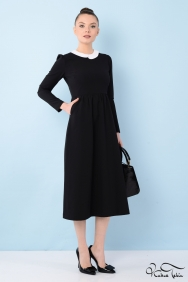 Alina Siyah Yaka İşlemeli Midi Elbise