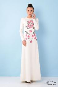 Angelina Nakışlı Beyaz Elbise