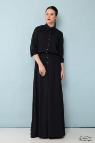 Lacivert Puantiyeli Gömlek Elbise