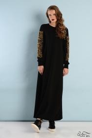Kupraa Siyah Gold Kol Elbise