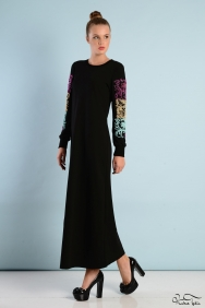 Kupraa Siyah Renkli Kol Elbise