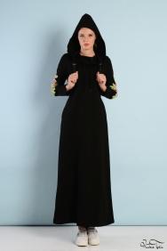 Kupraa Siyah Kapşonlu Kol Detaylı Elbise