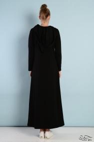 Kupraa Siyah Kapşonlu Eşofman Elbise