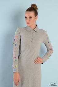 Roos Gri Kol Detaylı Elbise