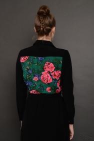 Penelope Siyah Patchwork İşlemeli Elbise