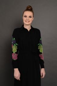 Penelope Renkli Kol Siyah Elbise