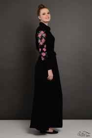 Penelope Kolu Nakış İşlemeli Siyah Elbise