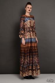 Kahverengi Desenli İpek Elbise