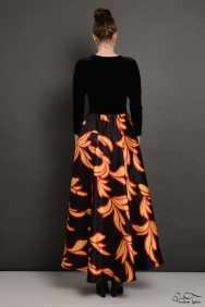 Molly Siyah Desenli Kadife Elbise