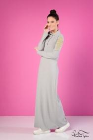 Roos Gri Gold Detaylı Elbise