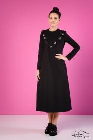 Sindy Siyah Fırfırlı Elbise