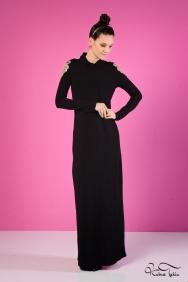 Roos Siyah Gold Apoletli Elbise