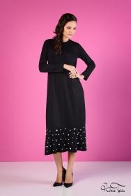 İva Siyah Volanlı İnci İşlemeli Elbise