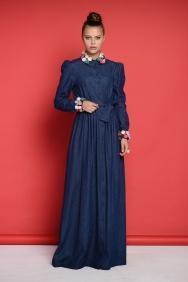 Yasemin Yaka Detaylı Kot Elbise