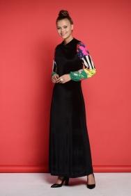 Iva Kadife Patchwork Elbise