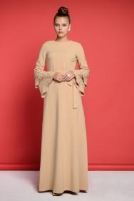 Kuğu Vizon Taşlı Elbise