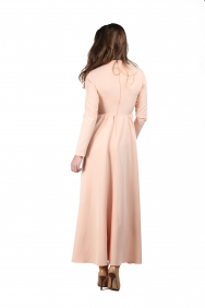 Fiona Bel Detaylı Pudra Elbise