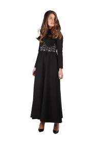 Fiona Bel Detaylı Siyah Elbise