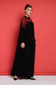 Sindy Kırmızı Yaka Detaylı Elbise