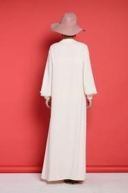 Camilia Ekru İnci Elbise