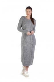 Gri İşlemeli Yün Elbise