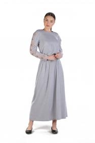 Olivia Gri Pudra İşlemeli Elbise