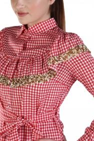 Kırmızı Kareli Yaka İşlemeli Elbise