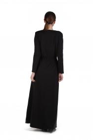 Meghan İşlemeli Örme Siyah Elbise