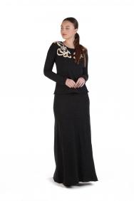 Dembe Siyah İşlemeli Örme Elbise