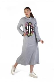 Eko Gri İşlemeli Örme Elbise