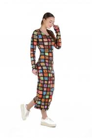 Overdoz Patchwork İşlemeli Elbise