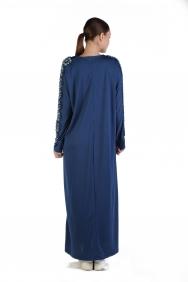 Eko Mavi İşlemeli Elbise