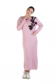 Cemre Pembe İşlemeli Triko Elbise
