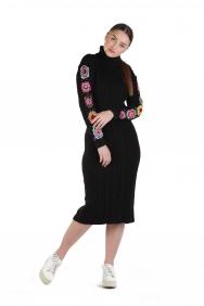 Brittni Kol İşlemeli Triko Elbise