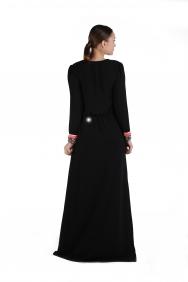 Deniz Anvelop İşlemeli Krep Elbise