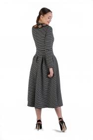 Rania Çizgi İşlemeli Elbise