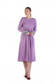 Lila İşlemeli Elbise