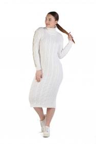 Brittni Ekru İşlemeli Triko Elbise