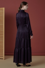 İpeksi Mor Gömlek Elbise