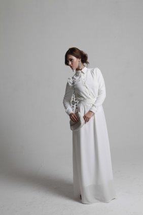 Kırık Beyaz Gömlek Elbise