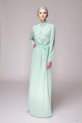 Nil Yeşili Gömlek Elbise