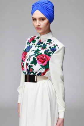 Beyaz Patchwork Elbise